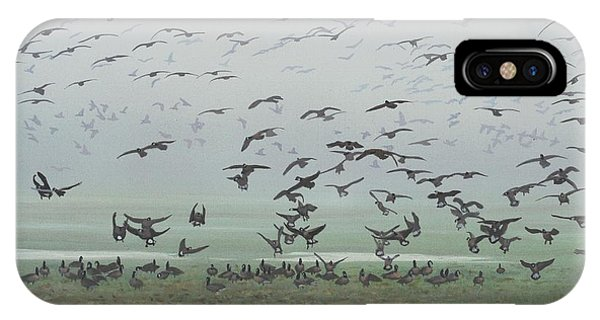 IPhone Case featuring the painting Foggy Arrival by Peter Mathios