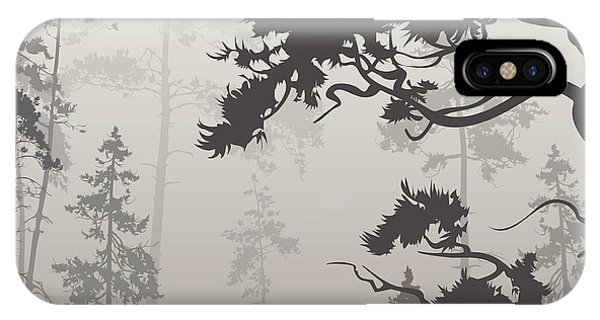 Peace iPhone Case - Foggy Landscape With Silhouette Of by Eva mask