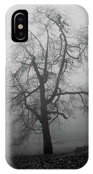Foggy Tree In Black And White IPhone Case
