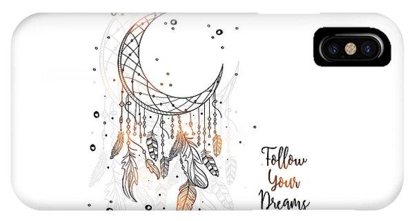 Follow Your Dreamcatcher - Boho Chic Ethnic Nursery Art Poster Print IPhone Case