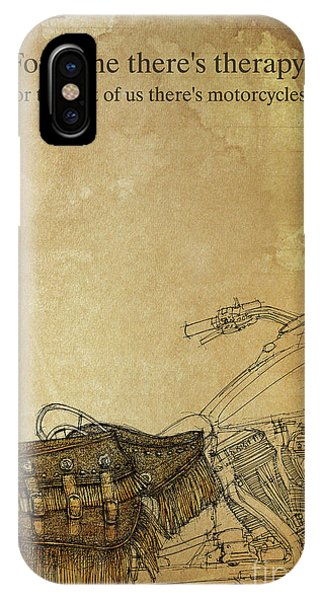Pub iPhone Case - For Some There's Therapy, For The Rest Of Us There's Motorcycles,indian Motorcycle by Drawspots Illustrations