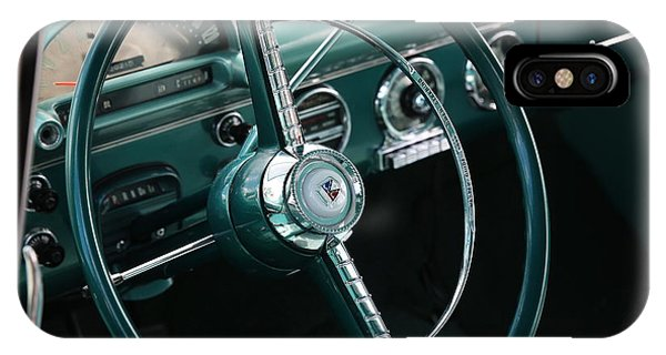 IPhone Case featuring the photograph 1955 Ford Fairlane Steering Wheel by Debi Dalio