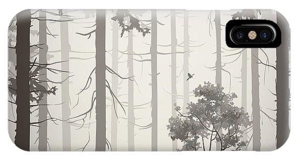 Needles iPhone Case - Forest Air Landscape With Birds, Light by Eva mask