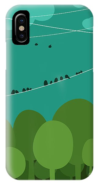 Simple Landscape iPhone Case - Forest And Birds Sitting On Wires by Popmarleo