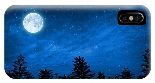 Full Moon iPhone Case - Forest In Silhouette With Starry Night by Ohishiapply