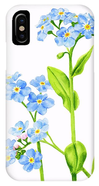 Botanical iPhone Case - Forget-me-nots On White by Sharon Freeman
