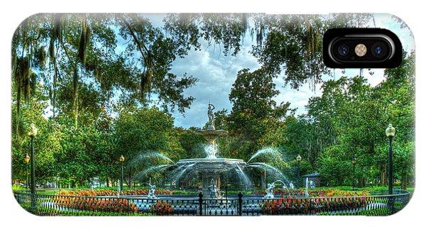 St. Patricks Day iPhone Case - Forsyth Park Fountain 7 Historic Savannah Georgia Art by Reid Callaway