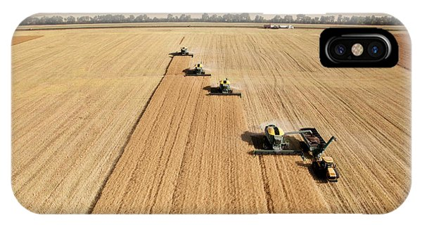 Cart iPhone Case - Four Harvesters Combing On A Prairie by Tyler Olson