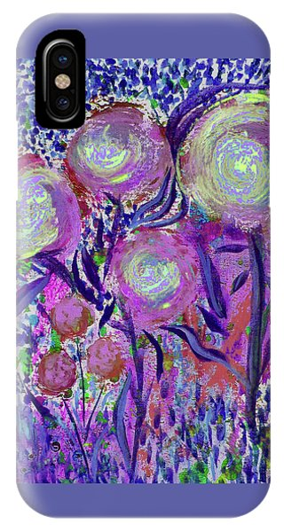 Four Pink Flowers In Blue IPhone Case