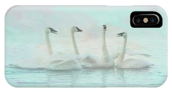 Teal Swan iPhone Case - Four Swans Watercolor Group by Patti Deters