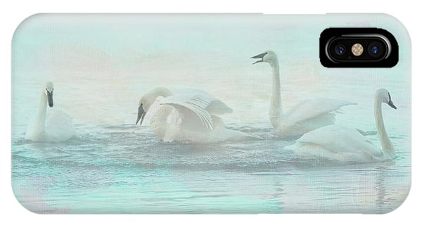 Teal Swan iPhone Case - Four Swans Watercolor Group Play by Patti Deters