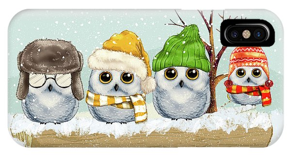 Four Winter Owls IPhone Case
