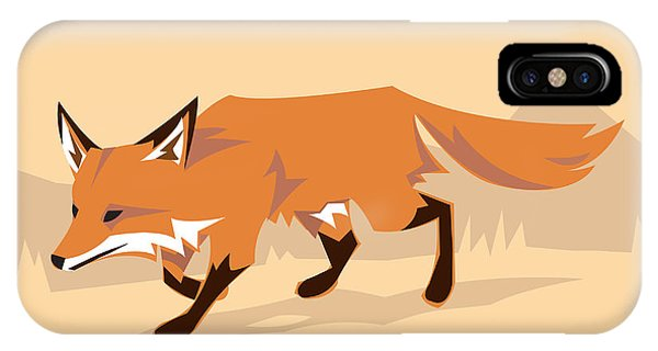 Cutout iPhone Case - Fox In A Decorative Composition by Artistan