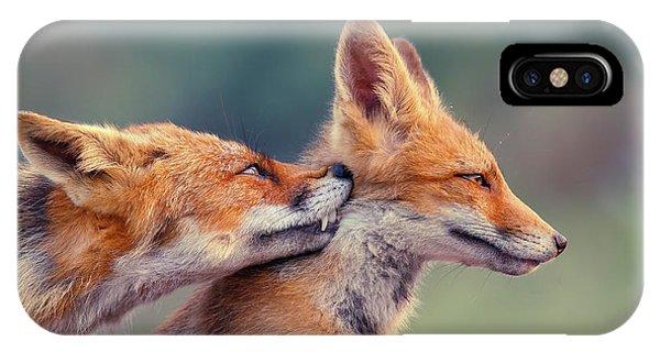 Teal iPhone Case - Fox Love Series - Love Ya by Roeselien Raimond