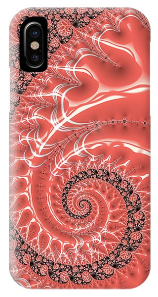 IPhone Case featuring the digital art Fractal Spiral Living Coral by Matthias Hauser