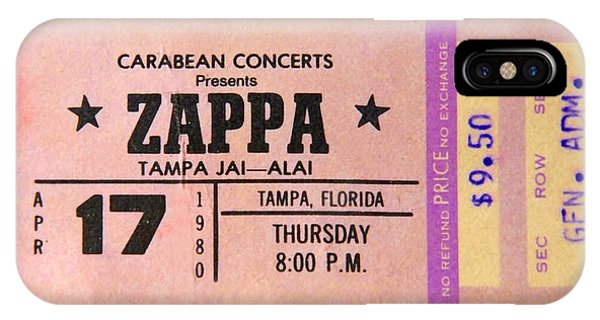 Frank Zappa iPhone Case - Frank Zappa 1980 Concert Ticket by David Lee Thompson