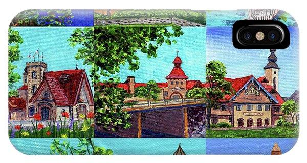 Clock iPhone Case - Frankenmuth Downtown Michigan Painting Collage II by Irina Sztukowski