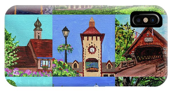 Clock iPhone Case - Frankenmuth Downtown Michigan Painting Collage Iv by Irina Sztukowski