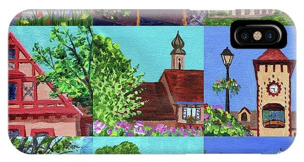 Clock iPhone Case - Frankenmuth Downtown Michigan Painting Collage V by Irina Sztukowski