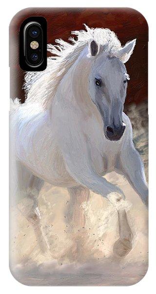 White Horse iPhone Case - Free Spirit by James Shepherd