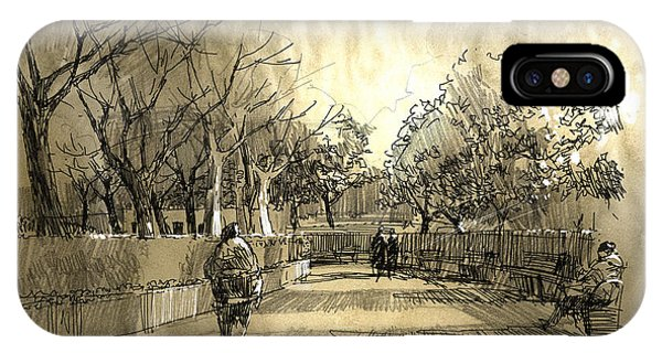 Park Bench iPhone Case - Freehand Sketch Of City Park by Tithi Luadthong