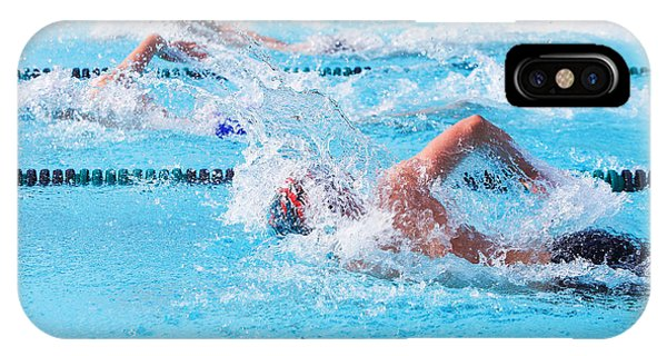 Aquatic iPhone Case - Freestyle Swimmers Racing by Suzanne Tucker
