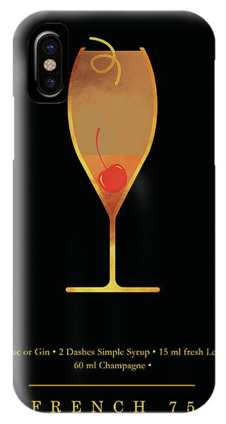 French iPhone Case - French 75 Cocktail - Classic Cocktails Series - Black And Gold - Modern, Minimal Decor by Studio Grafiikka