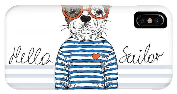 Small Dog iPhone Case - French Bulldog Sailor, Nautical by Olga angelloz