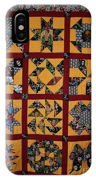 IPhone Case featuring the tapestry - textile Frida Quilt by Cynthia Marcopulos