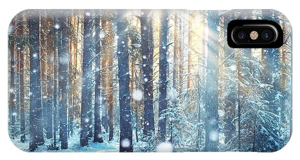 White Mountains iPhone Case - Frosty Winter Landscape In Snowy Forest by Kichigin