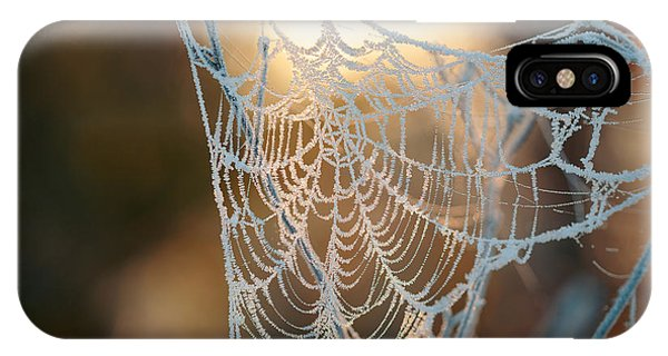 Water Droplets iPhone Case - Frozen October Morning Cobwebs by Stone36