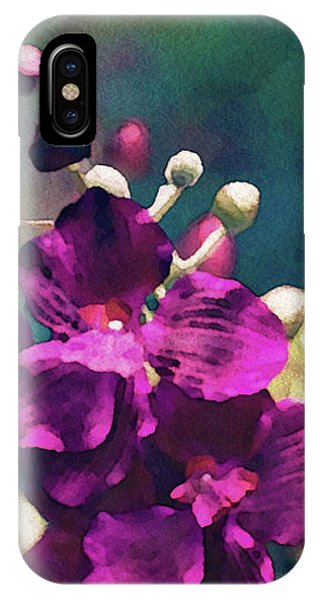 IPhone Case featuring the mixed media Fuchsia Pink Vanda Orchid by Susan Maxwell Schmidt