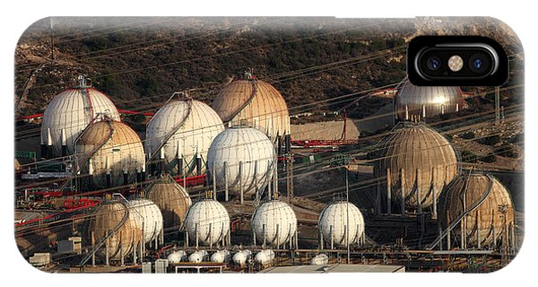 Technology iPhone Case - Fuel And Gas Storage Tanks At An Oil by Philip Lange