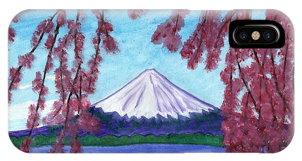 Fuji Mountain And Sakura IPhone Case