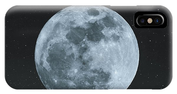Full Moon iPhone Case - Full Moon At Night With Stars With by Sasin Paraksa