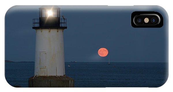 Full Moon Rising On Salem Harbor IPhone Case