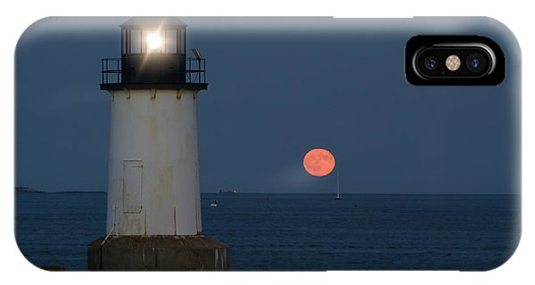 IPhone Case featuring the photograph Full Moon Rising On Salem Harbor by Jeff Folger