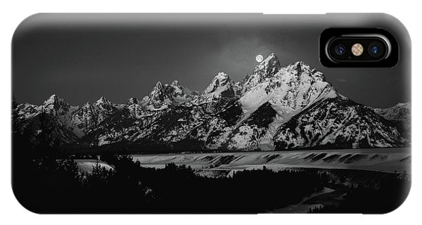 Full Moon Sets In The Tetons IPhone Case
