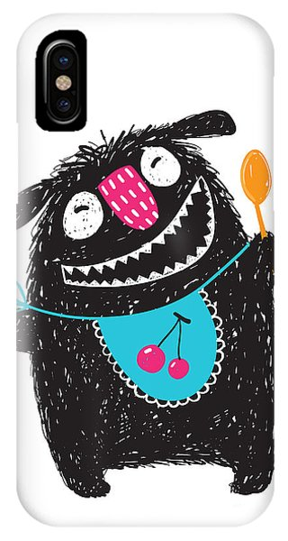 Vector Graphics iPhone Case - Fun Happy Cute Kids Monster Hungry by Popmarleo