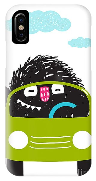 Vector Graphics iPhone Case - Fun Monster Driving Car Cartoon For by Popmarleo