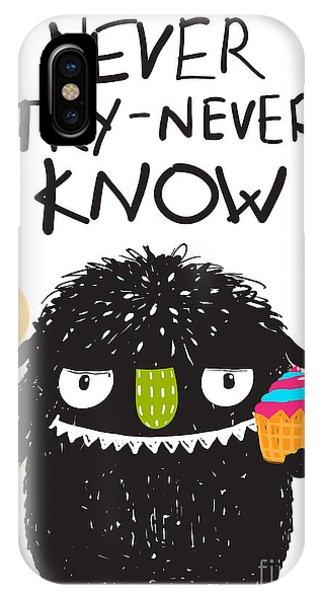 Vector Graphics iPhone Case - Fun Monster Eating Dessert Cartoon by Popmarleo