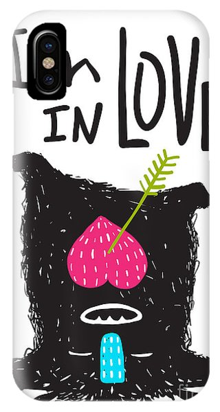 Small iPhone Case - Fun Monster In Love Happy Upside-down by Popmarleo