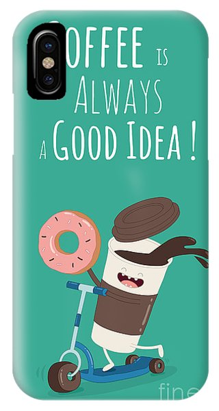Funny Coffee With Donut On The Kick Phone Case by Serbinka