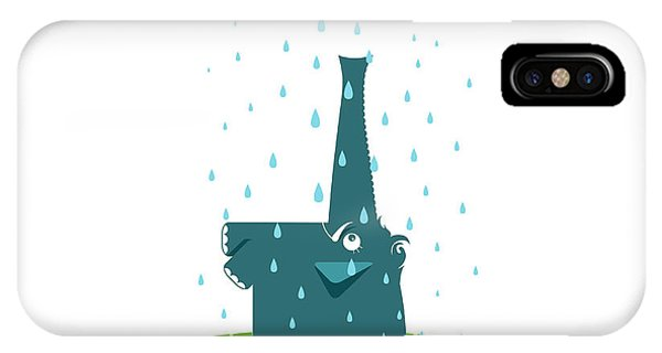 Baby Blue iPhone Case - Funny Graphic Elephant And Rain. Blue by Popmarleo