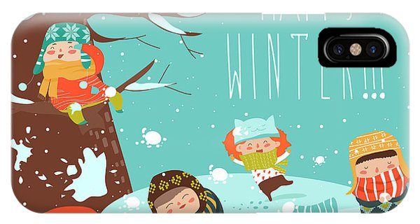 Winter Fun iPhone Case - Funny Kids Playing Snowball Fight by Maria Starus