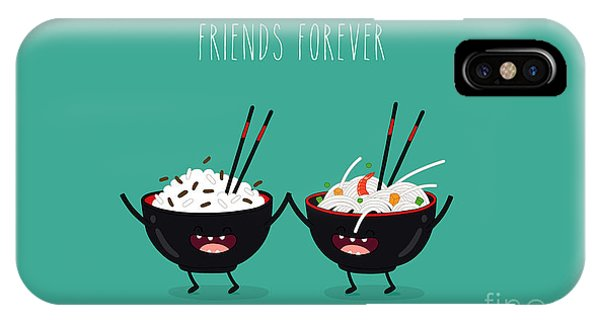 Eggs iPhone Case - Funny Rice Noodles And Rice In Black by Serbinka