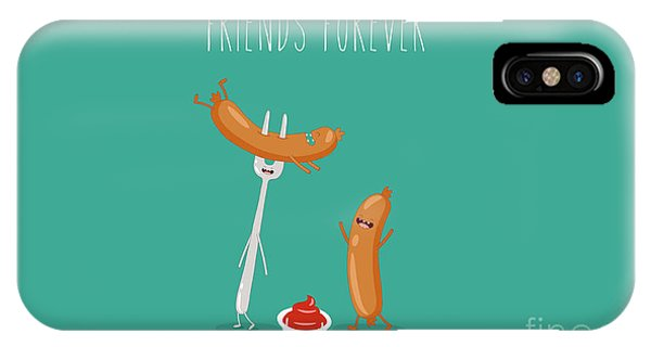 Ingredient iPhone Case - Funny Sausage On A Fork With Ketchup by Serbinka