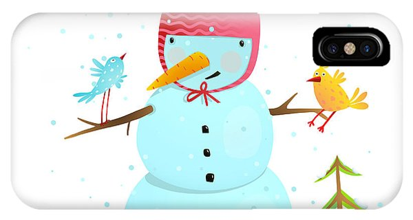 Present iPhone Case - Funny Snowman With Birds Present And by Popmarleo