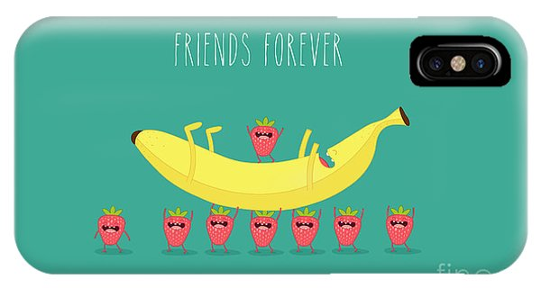 Summer Fruit iPhone Case - Funny Strawberry With Banana. Comic by Serbinka