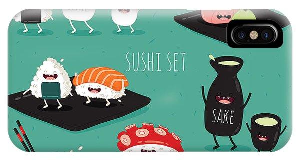 Funny Sushi Set. Bottle Of Sake, Sushi Phone Case by Serbinka